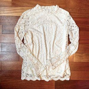 Ivory Cream Lace High Mock Neck Long Sleeve Blouse